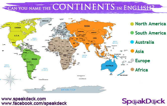 SpeakDeck Blog - Name of continents